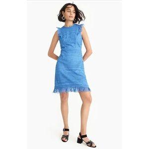 NEW J. Crew Cap Sleeve Blue Ruffle Lace Dress sz 6